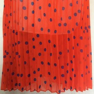 Unbranded Dresses - Blue Polka Dot on Red Orange Dress Sz M Lined